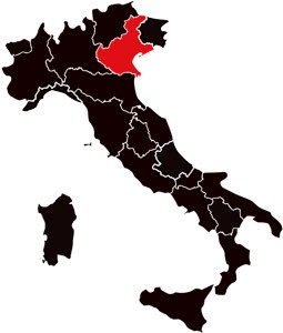 Italy with red Veneto