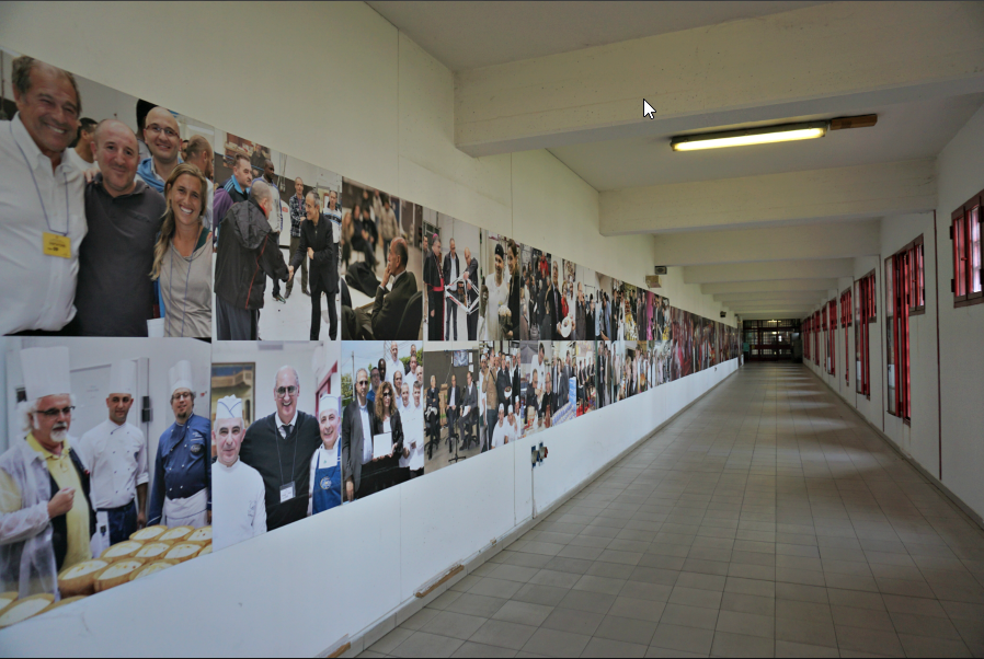 Along the corridor the photos of the major events related to the Bakery
