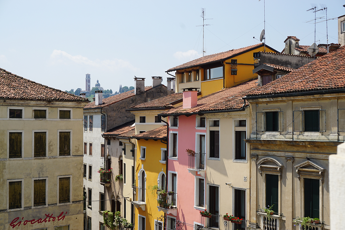 View of those colorful houses I love so much in Vicenza
