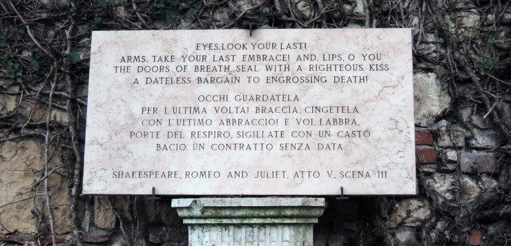 Juliet's death quote, Juliet's tomb