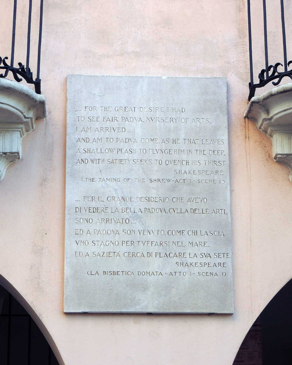 The Taming of the Shrew quote in Padua