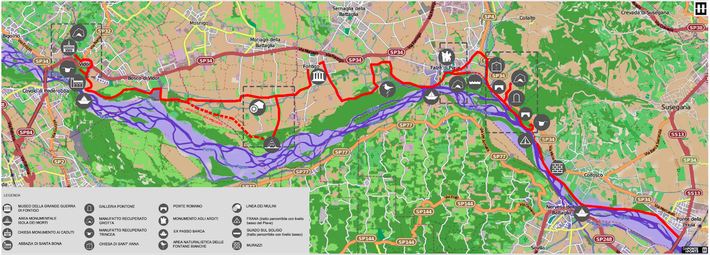 Da Ponte a Ponte itinerary along the Piave river World War 1 frontline Map