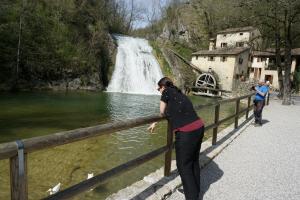 Trying to talk to the ducks at Molinetto della Croda