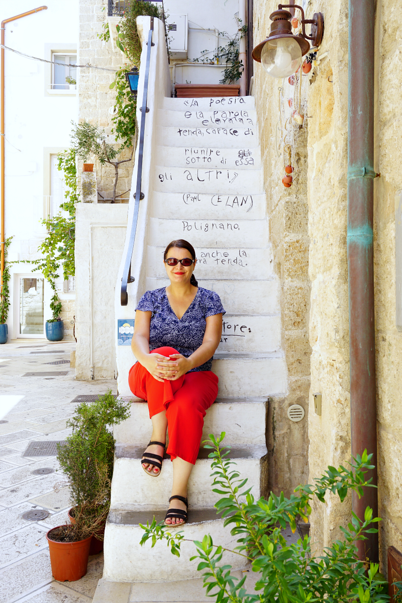 Me on a poetic staircase in Polignano